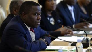 Zambian Foreign Minister Harry Kalaba attends a meeting with his Russian counterpart in Moscow on April 17, 2015.