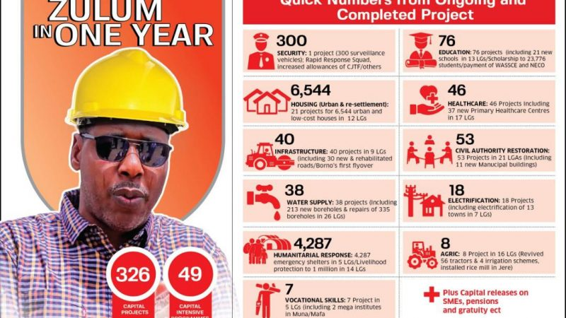One Year: Zulum Tackles 326 Capital Projects, 49 Programmes – Borno SSG Declares