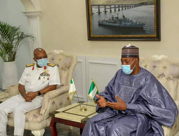 Security: Zulum Meets Naval, Air force Chiefs in Abuja